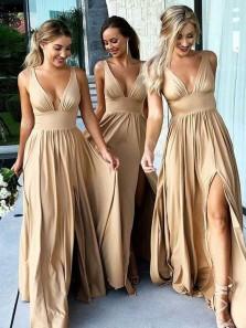 Charming V Neck Backless Slit Champagne Elastic Long Bridesmaid Dress Under 100 BD0703005
