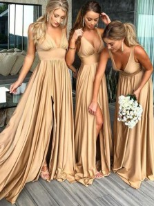 Charming V Neck Backless Slit Champagne Elastic Long Bridesmaid Dress Under 100 BD0703005