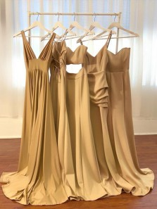 Charming Champagne Long Bridesmaid Dress, Three Style Bridesmaid Dress