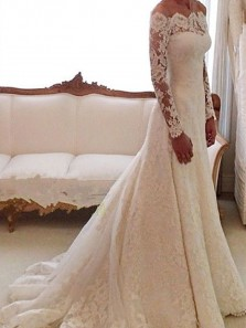 Vintage Elegant A Line Off the Shoulder Long Sleeve Ivory Lace and Tulle Wedding Dress with Beading