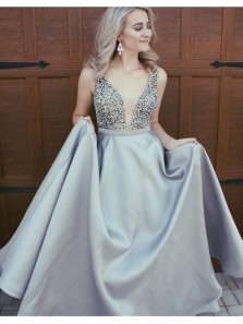 New Arrival Gorgeous V Neck Backless Light Grey Satin Prom Dress with Beading, Formal Evening Dress Custom Made PD0703009