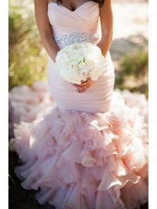 Gorgeous Mermaid Sweetheart Beading Pink Organza Wedding Dress with Court Dress