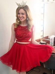 Unique Cute A Line Two Piece Scoop Open Back Red Homecoming Dress with Beading, Red Pageant Dresses, Short Quinceanera Dresses