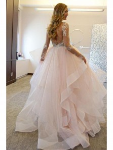 Gorgeous Ball Gown V Neck Backless Long Sleeves Pink Tulle Wedding Dress with Applique
