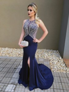 Charming Mermaid Round Neck Open Back Sparkly Navy Satin Prom Dress with Beading, Elegant Slit Evening Dress