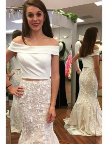 Elegant Mermaid Two Piece Off the Shoulder White Prom Dress with Lace, Long Evening Dress