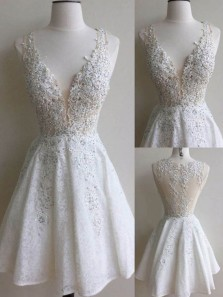 Cute A Line V Neck White Lace Homecoming Dress with Beading, Charming Short White Prom Dress HD0704004