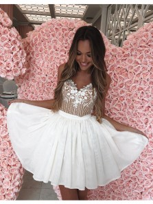 Cute A Line Sweetheart Spaghetti Straps White Chiffon Short Homecoming Dresses with Lace and Beading, Hoco Dresses HD0704005