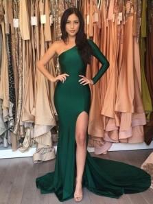 Sexy Mermaid One Shoulder Slit Green Long Prom Dress, Charming Evening Dress