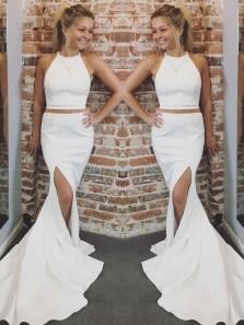 Charming Mermaid Two Piece Slit White Long Prom Dress, Elegant Formal Evening Dress