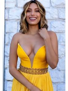 Charming A Line Deep V Neck Slit Yellow Chiffon Prom Dress with Beading, Sexy Long Evening Dress