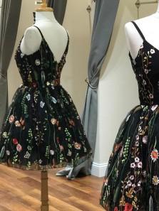 2018 New Arrival Cute A Line V Neck Lace Black Homecoming Dress, Little Black Dress, Sweet 16 Dress