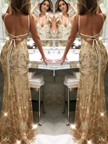 New Arrival Sexy Mermaid V Neck Backless Gold Lace Prom Dress, Long Evening Dress PD0704012