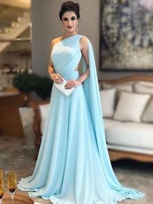 Elegant A Line one Shoulder Cross Back Light Blue Chiffon Long Prom Dress, Pleat Formal Evening Dress