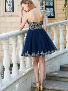 2018 Popular Cute A Line Sweetheart Navy Blue Tulle Homecoming Dress with Applique