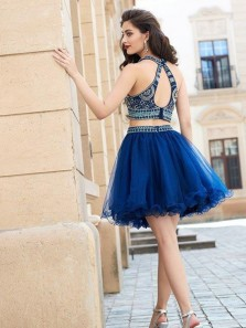 Cute A Line Two Piece Open Back Royal Blue Tulle Short Homecoming Dress