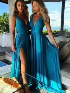 2018 Fashion A Line V Neck  Slit Teal Elastic Bridesmaid Dresses