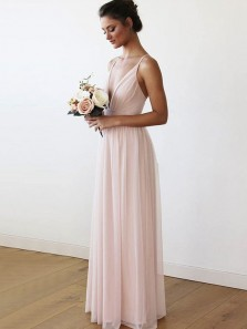 2018 Popular Fairy V Neck Backless Brush Pink Chiffon Bridesmaid Dress Under 100