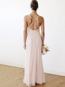 2018 Popular Fairy V Neck Backless Brush Pink Chiffon Bridesmaid Dress Under 100
