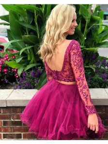 Cute A Line Two Piece Scoop Open Back Long Sleeves Fuchsia Lace Homecoming Dress, Short Prom Dress HD0705004