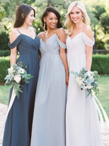 Fashion Elegant Off the Shoulder Chiffon Long Bridesmaid Dress, Discount Bridesmaid Dress Under 100