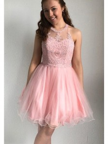 Cute A Line Round Neck Pink Tulle Homecoming Dress with Beading, Short Prom Dress