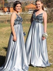 Unique A Line V Neck Spaghetti Straps Backless Blue Grey Satin Long Prom Dress, Charming Evening Dress with Beading