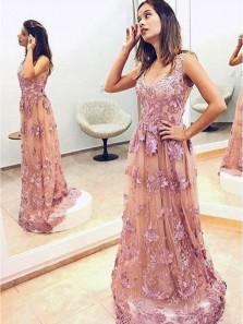 Elegant A Line V Neck Brush Lace Long Prom Dress, Fashion Evening Dress