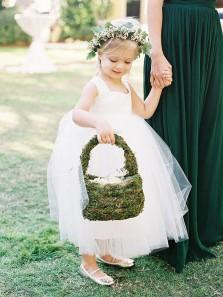 Cute White Tulle Flower Girl Dress, Beautiful Flower Girl Dress with Bow Under 100