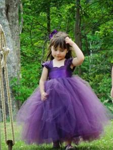 Cute Tutu Dress, Sweetheart Purple Tulle Flower Girl Dress with Bow