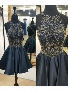 2018 New Arrvial Round Neck Dark Navy Satin Short Homecoming Dress, Short Prom Dress with Beading