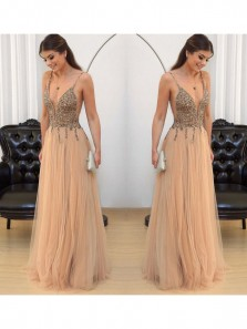 Charming A Line V Neck Spaghetti Straps Brown Tulle Prom Dress, Long Evening Dress