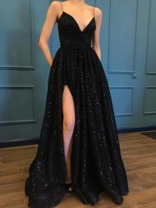 Charming A Line V Neck Slit Black Satin Long Prom Dress, Formal Evening Dress