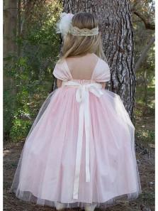 Cute Cap Sleeve Pink Tulle Flower Girl Dress, Beautiful Flower Girl Dress with Pearl Belt Under 100