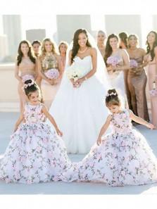 Unique A Line Scoop Lace White Flower Girl Dress