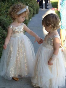 Cute A Line Scoop Gold Sequins Tulle Flower Girl Dress