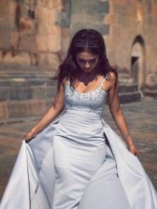 Charming Mermaid Sweetheart Spaghetti Straps Light Grey Satin Prom Dress with Applique, Formal Evening Dress