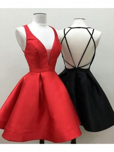 Simple A Line V Neck Black Red Satin Homecoming Dress with Cross Back, Short Homecoming Dresses with Pockets Under 100