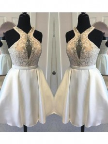 Cute A Line Halter White Satin Short Homecoming Dress with Beading ,Lace Short Prom Dress