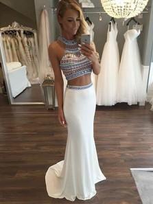 Charming Mermaid Two Piece Halter Beading White Prom Dress, Elegant Formal Evening Dress