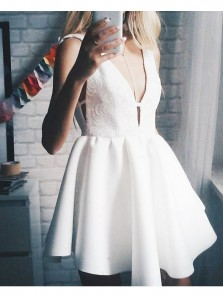 Cute A Line V Neck Backless White Satin Short Homecoming Dress Under 100, Simple Short Prom Dress