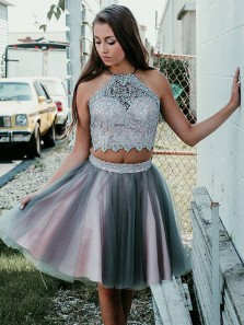 Elegant A Line Two Piece Halter Grey and Pink Homecoming Dress, Short Prom Dress