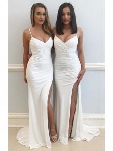Charming Mermaid V Neck Spaghetti Straps Slit Long White Prom Dress, Sexy Evening Dress, Cocktail Dresses PD0707004