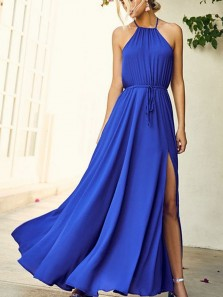 Simple A Line Halter Backless Slit Royal Blue Long Prom Dress, Charming Formal Evening Dress
