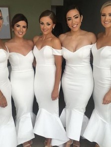 Elegant Mermaid Tea Length Off the Shoulder White Bridesmaid Dress Under 100 BD0707001