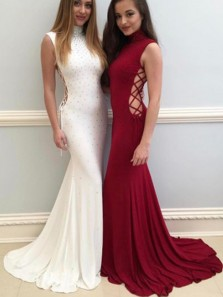 Charming Mermaid Halter Side Hollow White and Wine Long Prom Dress, Elegant Evening Dress
