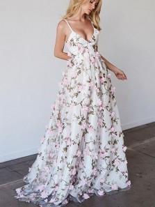 Elegant A Line V Neck Spaghetti Straps Flower Lace Long Prom Dress, Formal Evening Dress