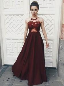 Charming A Line Halter Backless Burgundy Satin Prom Dress with Applique, Formal Evening Dress PD0708002