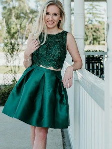 Elegant A Line Two Piece Scoop Green Satin and Lace Homecoming Dress with Beading, Short Prom Dress