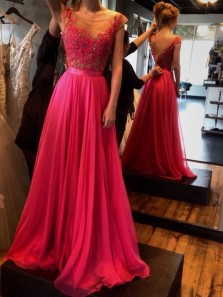 Charming A Line V Neck Rose Red Chiffon Prom Dress with Applique, Formal Evening Dress